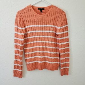 Ralph Lauren | Striped Orange White Knit Sweater M